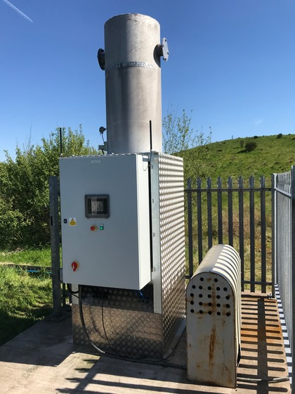 LC500 low calorie biogas flare after installation on site